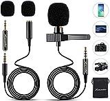 HOUSAILEI Lavalier Microfono Professionale a Condensatore Omnidirezionale con Clip 3.5mm adattatore 2m+1.5m per iPhone iPad Android PC Windows Fotocamera Tavoletta