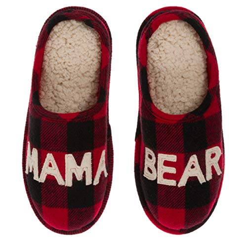 Dearfoams Women's Mama Bear Buffalo Plaid Clog Slipper, X-Large