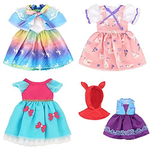 ZWOOS Vestiti per Bambole, Adorabile Vestito in Cotone per Bambole 36 cm, Confezione da 4 (Set 2)