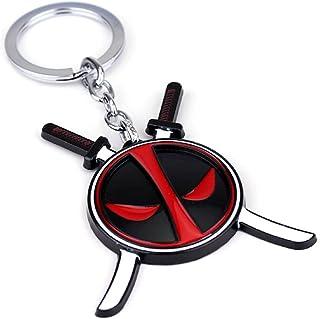 Deadpool Face Logo Metal Keychain, Deadpool Playtime - Deadpool with Sword, Multicolor, Marvel Comics Deadpool,Deadpool Ac...