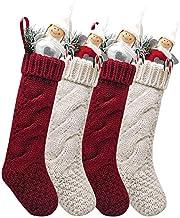 "Kunyida 14"",Pack 4 Burgundy and Ivory White Knit Narrow Christmas Stockings for Holiday Decor"