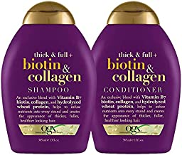 OGX Thick & Full + Biotin & Collagen Shampoo & Conditioner Set, 13 Ounce (packaging may vary), Purple