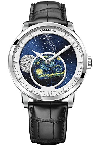 Agelocer Men's Top Brand Blue Moon Phase Mechanical Masculine Fashion Diamond Dial Luxury Wrist Watch (AAP:6401A1)