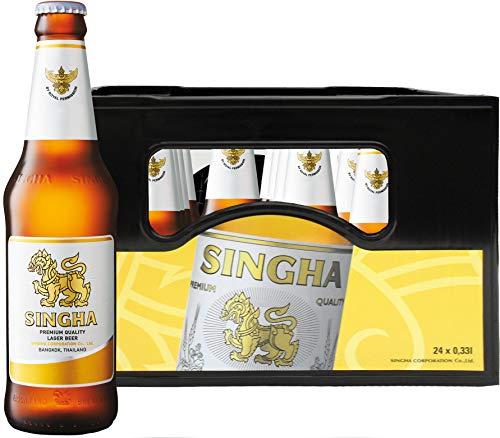 Singha Orginal thailändisches Bier, 5% Vol. (11 Grad Plato) Pils in der Flasche, Mehrweg (24 x 0,33 l)