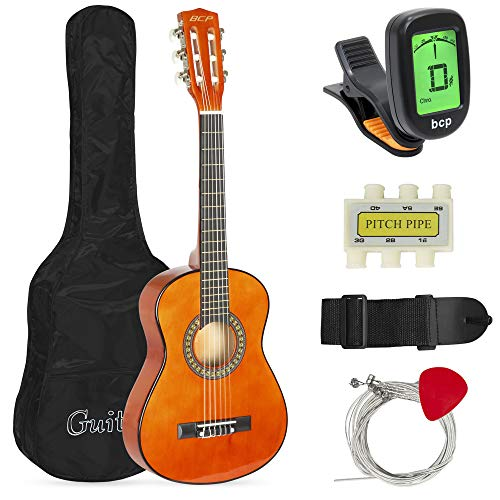 Best Choice Products 30in Kids Acoustic Guitar Beginner Starter Kit with Electric Tuner, Strap, Case, Strings - Brown