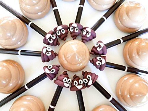 Lifetime Inc Poop Emoji Party Favors Supplies - 12 Pack of Pencil, Eraser, Sharpener Unisex Sets for Tweens, Teens, Girls, Boys