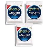 Martin MSP4100 SP Phosphor Bronze Acoustic Guitar Strings, Light - 3 Pack with Picks