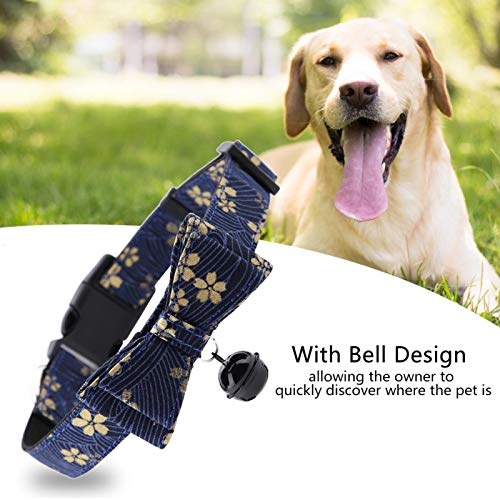Collar para Perro con Pajarita, Collar para Perro Mediano, Collar para Perro Grande, Collar Suave para Mascotas, Collar para(Navy, M)
