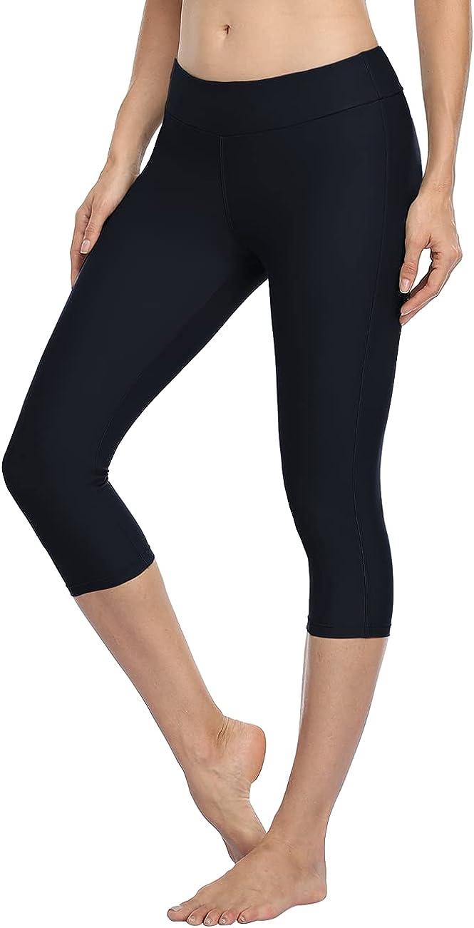 Hilor Women's High Waist UV Rash Guard Pants Crop Swim Leggings Sports Capri Tights