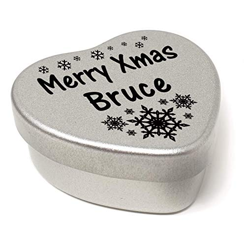 Merry Xmas Bruce Heart Shaped Mini Tin Gift filled with mini coloured chocolates perfect card alternative for Bruce Fun Festive Snowflakes Design