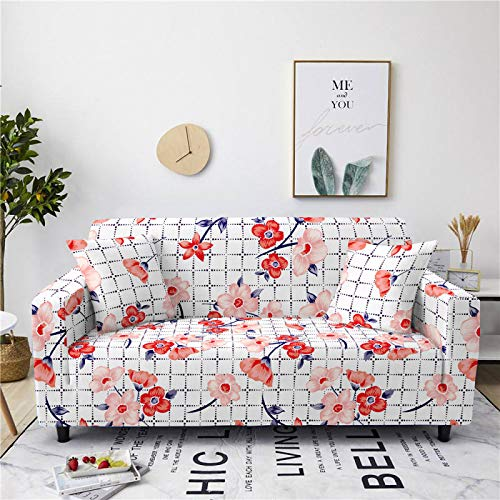 Universal Sofa Cover Spandex Stretch Couch Slipcover Red Pink Floral Pattern Tight Fitted Armchair Loveseat Settee Cover 1/2/3/4 Seater Sofa Protector,1,seat 90,140cm