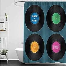 SLLART Shower Curtains Urban 90s,Music Vinyl Discs LP Rock Pop W69 x L90,Shower Curtain for Women