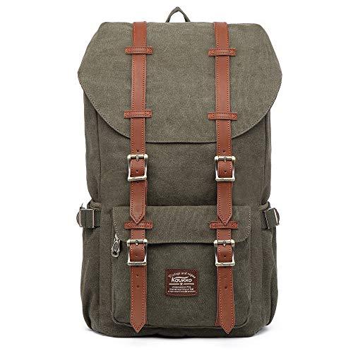 KAUKKO Vintage Rucksack Damen Herren Schön Baumwolle Daypack mit Laptopfach für 14 Zoll Notebook für Schule, Uni, 22.4 L