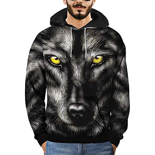 Makeupsto Unisex Lovers Hooded Sweatshirts Plus Size 3D Wolf Printed Long Sleeve Fashion Pullover Tops Blouse