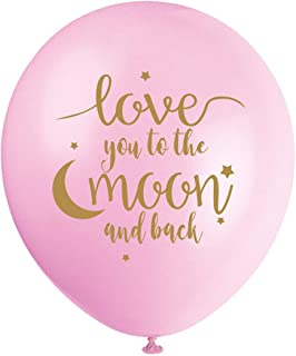 MAGJUCHE Pink I Love You to The Moon and Back Balloons, 16pcs Girl Gold Baby Shower or Birthday Party Decorations