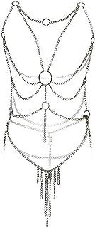 Women's Lingerie Chain Set Cross Enticing Tassel Body Link Harness Metal Chain Set Metallic
