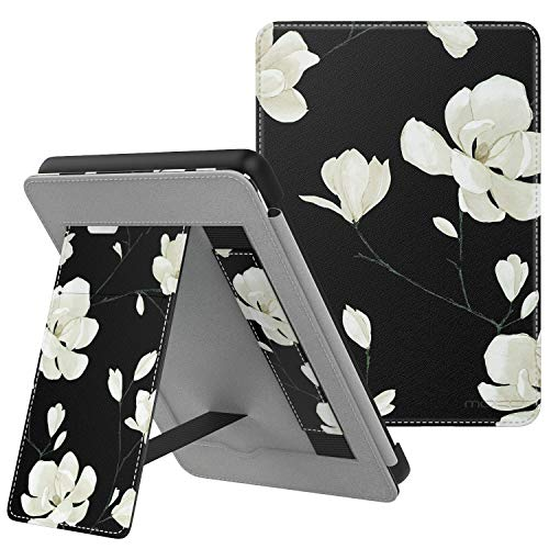 MoKo Case Fits Kindle Paperwhite (10th Generation, 2018 Releases), Lightweight PU Leather Cover Stand Shell with Hand Strap for Amazon Kindle Paperwhite 2018 E-Reader - Black & White Magnolia