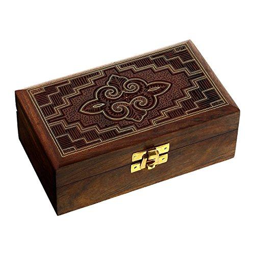 Hashcart indisk konsthantverkare, handgjord, av trä, smyckeskrin med traditionell design och mässingsinlägg, trä, brun, stil 2