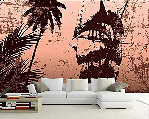 Pas 3D Wallpaper Vintage Island Boot Creatieve serie Art Print Muurschildering Hd Print Poster Beeld Grote Zijde Fo Aangepaste 3D Behang Plakken Woonkamer De Muur voor Slaapkamer Mural 250 cm.