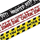 Babigo Halloween Zombie Caution Tape & Zombie Posters Pack, Fright Tape Bundle for Zombie Party or Halloween Party