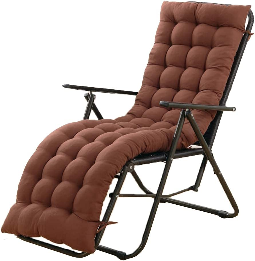 61 Inch Sun Lounger Chair Cushions, Sundlight Patio Cushions Chaise Outdoor Mattress Recliner Quilted Thick Padded Seat Cushion Reclining Chair Rocking with Ties (Coffee)