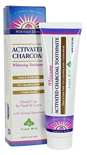 Heritage - Carbone attivo sbiancante dentifricio menta fresca - 5.1 oncia.