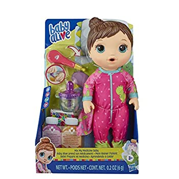Baby Alive Mix My Medicine Baby Doll Dinosaur Pajamas Drinks and Wets Doctor Accessories Brown Hair Toy for Kids Ages 3 and Up