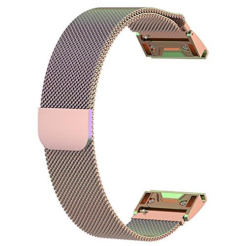 HPTQJ Correa de la Banda del Reloj de la Hebilla de Seguridad del Acero Inoxidable de Metal, Correa magnética de Metal de liberación rápida, Brazalete de reemplazo de Reloj Inteligente Regalo cálido