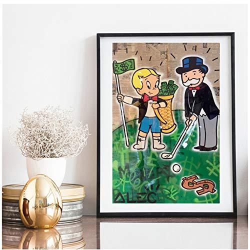 ALEC Monopoli Richie Goyard Golf HD su tela, stampa su tela, decorazione per soggiorno, casa, poster da parete, 50 x 75 cm, senza cornice