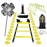 GJCrafts Escalera de Agilidad, Kit Entrenamiento Velocidad 6M Escalera de Agilidad de 12 Secciones 24 Conos 5 Obstáculos 4 Clavijas 1 Paracaídas de Resistencia para Correr 1 Bolsa de Transporte