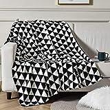 Vessia Oversized Flannel Fleece Reversible Throw Blanket(50x70 inch) - Black and White Geometric Lightweight Fluffy Decorative Blanket