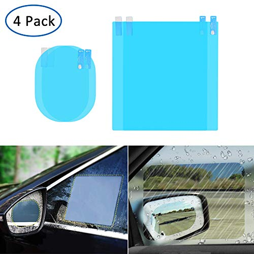4 PCS Car Rearview Mirror Protective Film, HD Clear Rainproof Film Anti Glare Anti Fog Waterproof Film for Car Mirrors and Side Windows