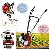Best Gas Tillers - Gas Garden Tiller Rototiller Cultivator Yard 52CC Front Review