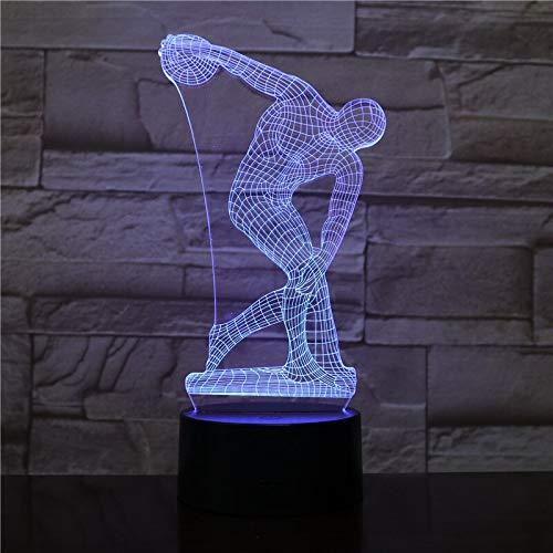 Jiushixw 3D acryl nachtlampje met afstandsbediening van kleur veranderende tafellamp werpschijf nachtkastje desktop sculptuur kind ingang bijzettafel tafellamp tafel