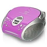 Lenco SCD24 - CD-Player für Kinder - CD-Radio - Stereoanlage - Boombox - UKW Radiotuner - Titel Speicher - 2 x 1,5 W RMS-Leistung - Netz- und Batteriebetrieb - Lila