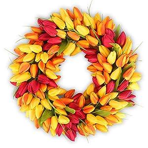 HANTAJANSS Artificial Tulip Flower Wreaths for Front Door 20 Inches, Silk Fake Flower Mini Tulip Wreaths for Spring, Summer, Winter, Home, Wedding, Wedding Décor