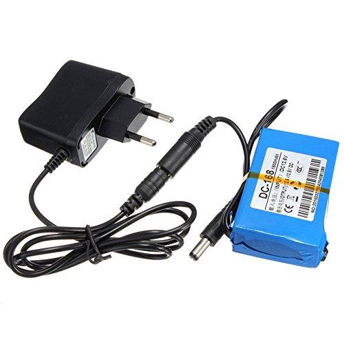 Dastrues - Paquete recargable portátil de batería de iones de litio 1800 mAh del mini DC-168 12 V para cámara de televisión en circuito cerrado (azul)