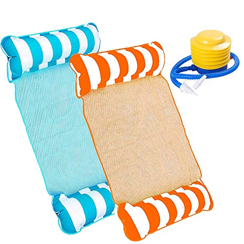 HUOHUOHUO Wasser Bett Matte Swim,Wasser Hängematte Lounge Chair,Schwimmstuhl für Erwachsene,Swimmingpool Beach Float,Pool Liege Float,Aufblasbare Wasserhängematte