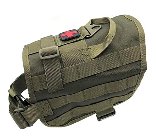 YANODA Jagd Weste Military Gear Service Hundegeschirr Army Dog Combat Training Molle Hundeweste Tactical Harness Bekleidung Tragend Jacke (Color : Green, Size : M)