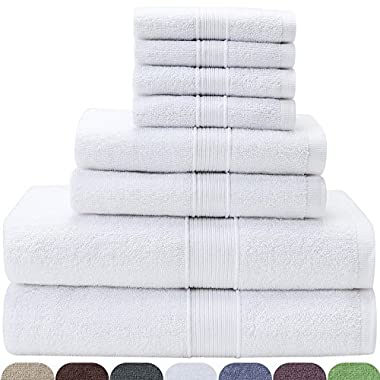 VEEYOO Bath Towel Set 8 Piece in White, 2 Bath Towels, 2 Hand Towels and 4 Washcloths, Premium Quality 100% Cotton for Hotel & Spa, Softness and Absorbency Towel Set