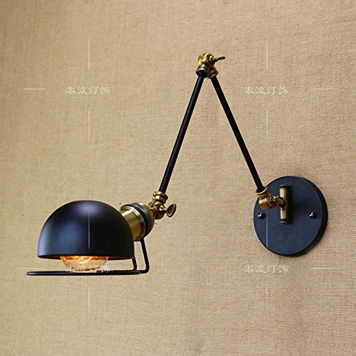 XSPWXN Lámpara de pared Vintage Ajustable Edison Simplicity Wall Light, Industrial Vintage Wall Lámpara de pared E27 con brazo oscilante para dormitorio ( Color : Black )
