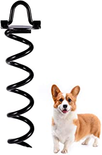 SCENEREAL Dog Tie Out Yard Spiral Stake 10 inch - Anti-Rust Folding Pet Anchor for Garden Yard and Outdoor Camping Small M...