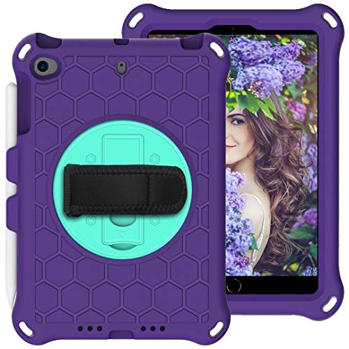 Protective Case For Kids Case for iPad Mini 5 4 3 2 1, Lightweight and Full-Body Shockproof EVA Case Cover with Built-in Foldable Kickstand and Grip Handle Rugged Heavy Duty Shockproof Rotating Tablet
