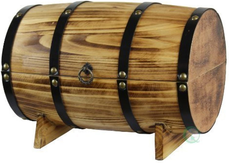Vintiquewise Wooden Barrel Treasure Chest