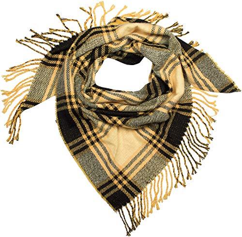 styleBREAKER Damen XXL Strick Dreiecksschal mit Glencheck Karo Muster, Fransen, Winter Schal, Tuch 01018160, Farbe:Gelb-Schwarz