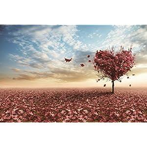 SUNYU® ロマンチック 1000ピース 赤 カエデ 葉 ハート 夕焼け 風景 カップル 恋人 誕生日 クリスマス バレンタイン ギフト 木製ジグソーパズル