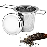 munloo Colador de Té, Infusor de Té y Tapa de Acero Inoxidable Diseño de Asa Plegable Se Adapta a la Mayoría de Las Tazas y Tazones de Té (Plata)