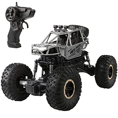 Coche teledirigido: escala 1:16 RC Auto teledirigido Coche teledirigido eléctrico todoterreno 2.4 GHz todo terreno Buggy Auto Monstertruck Rock Crawler juguete para niños adultos (plateado)