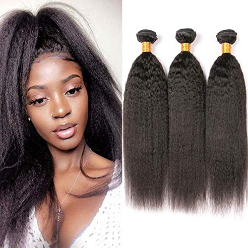 Yaki Weave Human Hair Kinky Straight Bundles Grade 8a Human Hair Extensions Yaki Straight 3 Bundle #1 Natural Black Real Hair Weft Remy Hair Yaki Bundle For Women 14 16 18 Zoll