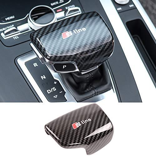 LAUTO Autoricambi Pomello del Leva Modello in Fibra di Carbonio Auto Adesivo Decorativo Protettivo Adatto per Audi A3 A4 A4L A5 A6 A6L A7 Q5 Q7 S3 S6 S7,A,Logo